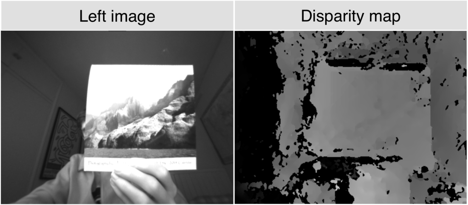 A side-to-side comparisson of the left image and the (normalised) depth map.